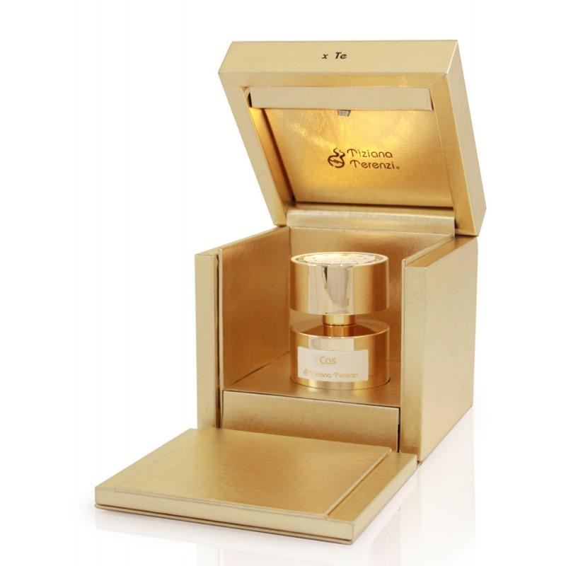 CAS luxusní parfém z přírodních esencí. Krásná dárková zlatá kazeta s jantaroým světýlkem.